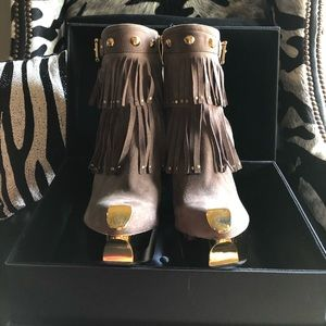 Gianmarco Lorenzi Taupe Suede Fringe Short Bootie